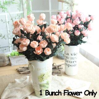 Bó 6 hoa hồng giả nhiều màu dùng trang trí nhà cửa - INTL thumbnail