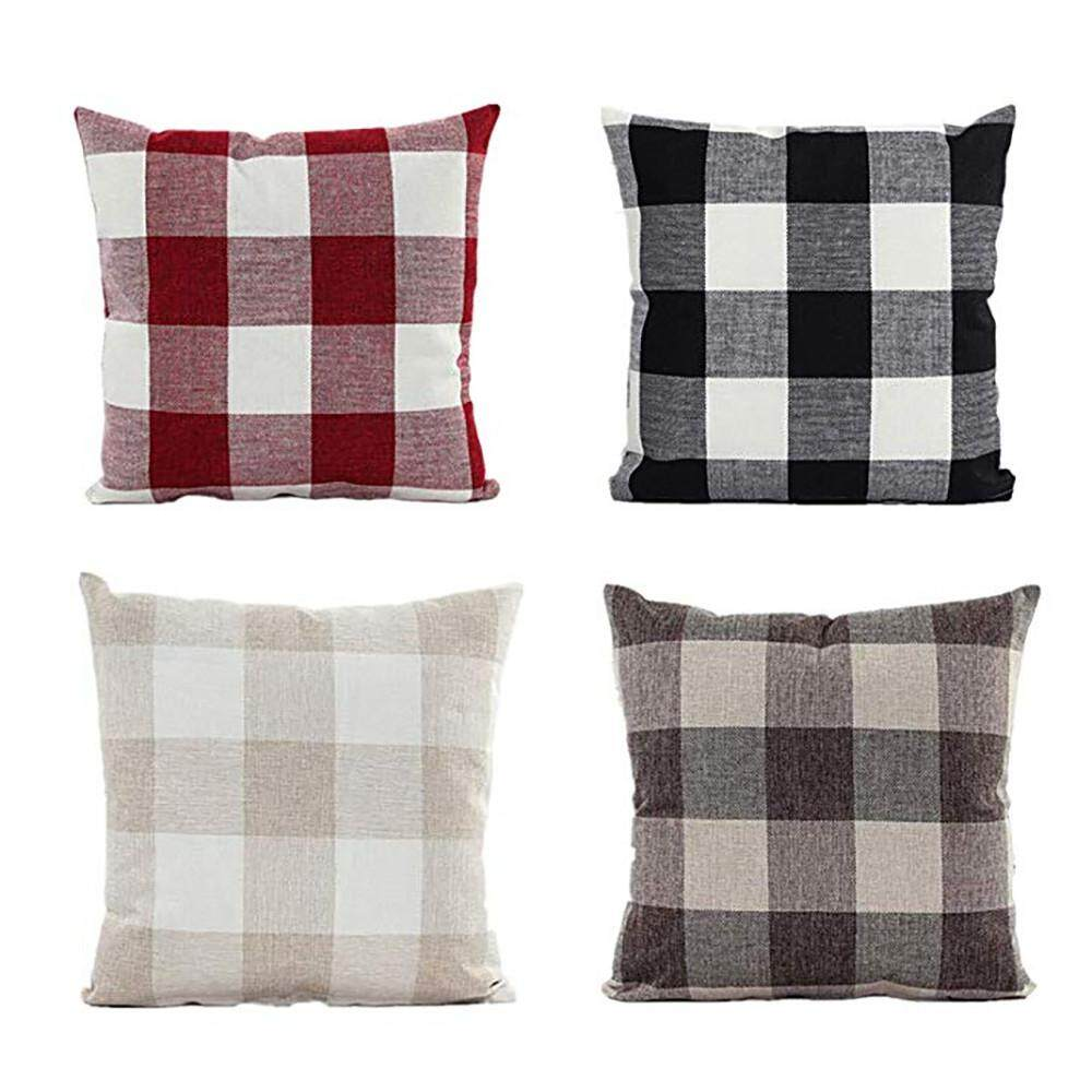 Malonestore 4PC Classic Plaids Cotton Linen Soft Christmas Decorative Square Pillow Covers