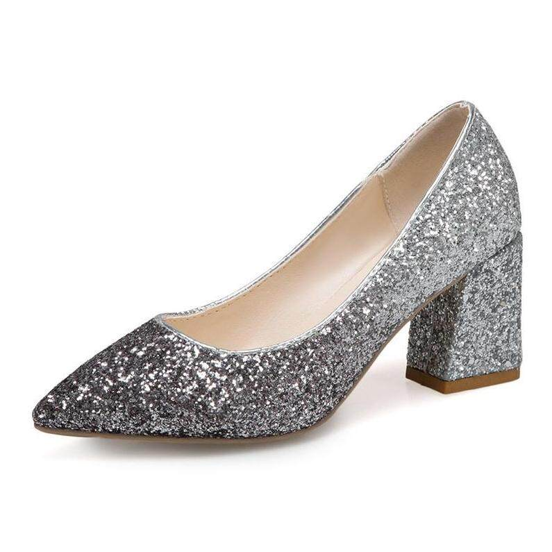 bf51f1ab4e8 New small fresh and thick with a pointed gradient gradient sequins crystal  shoes high heels