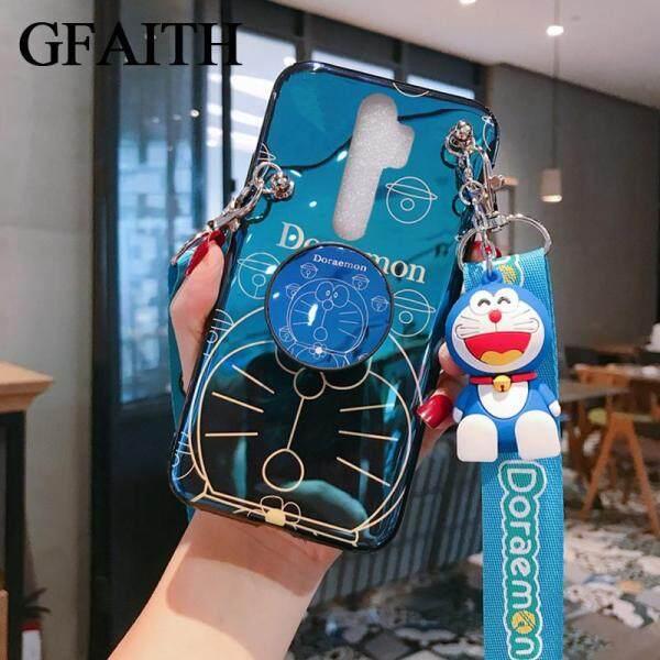 Ốp GFAITH 3D Vỏ Mềm TPU Cho OPPO A5 2020 A9 2020 Blu-ray Happy Doraemon Ốp Điện Thoại Reno 2F Có Dây Đứng Ốp Lưng A52020 A92020 Hoạt Hình