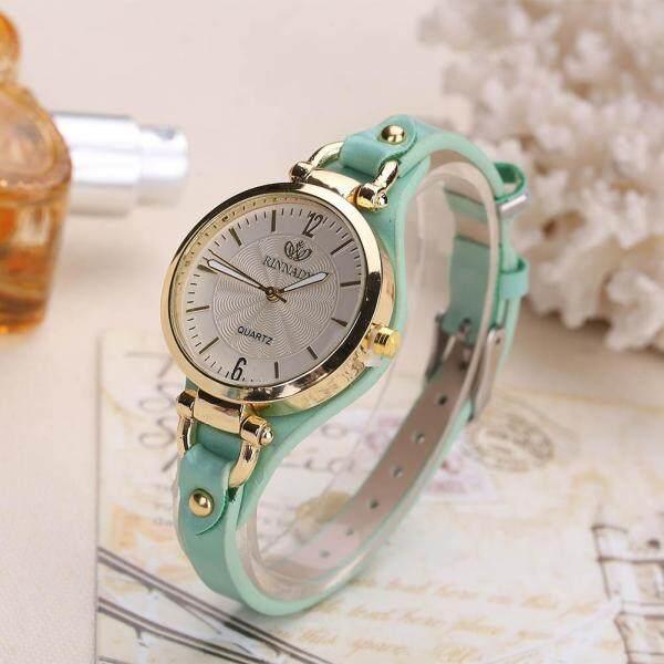 Đồng hồ đeo tay nữ thiết kế mặt tròn với dây đeo bằng da PU có đinh tán thời trang hàng ngày - INTL bán chạy