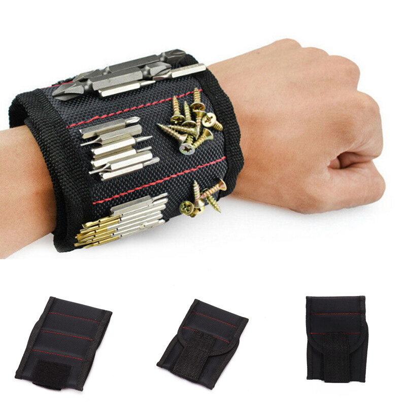 Jettingbuy Portable Tool Bag Magnetic Wristband Electrician Tool Wrist Belt Screws Holder 5