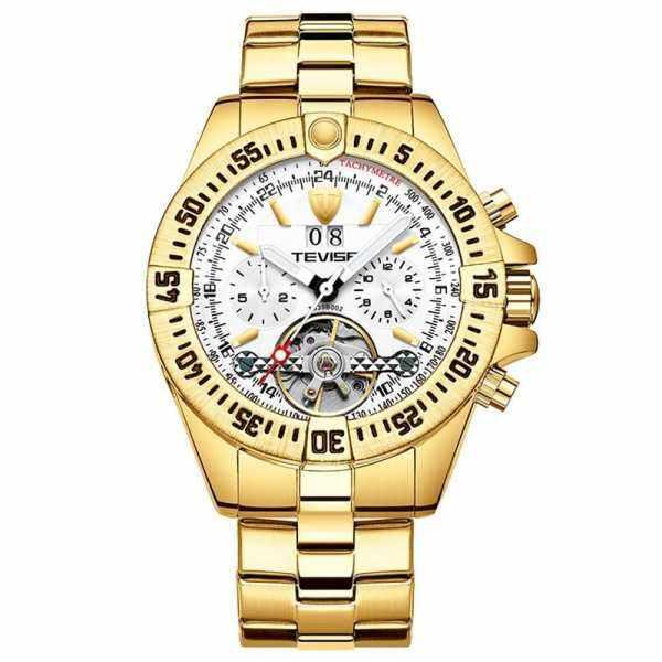 TEVISE Men Automatic Mechanical Watch Multi-Functional Business Calendar Watch Luminous Hands Waterproof Wrist Watch (Gold & White) Malaysia