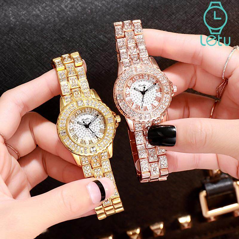 [Buy 1 Take 1]Letu Hot Sale Fashion Luxury Wristwatch For Women Full Rhinestone Roman Numeral Dial Quartz Ladies Watch Malaysia
