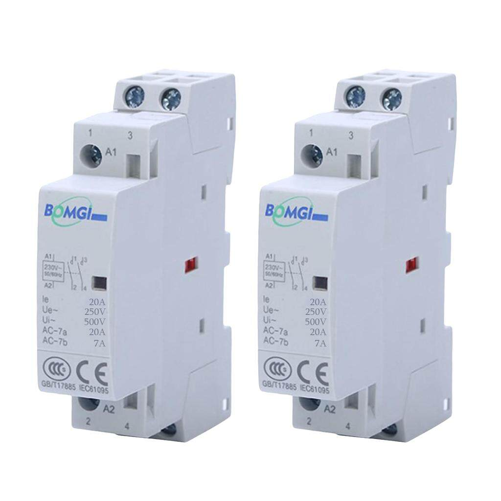 Miracle Shining 2 Pcs AC Modular Contactor 2P 20A 2NO 230V Household Contactor Din Rail Type