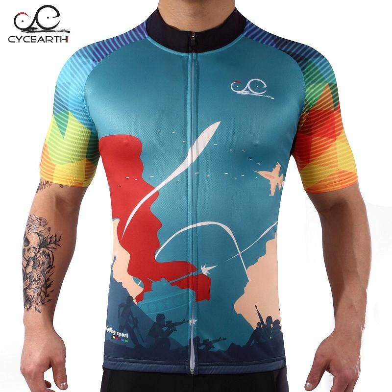 2019 Men Cool Summer Cycling Shirt Bike Jersey Short Sleeve Riding Tops Clothing