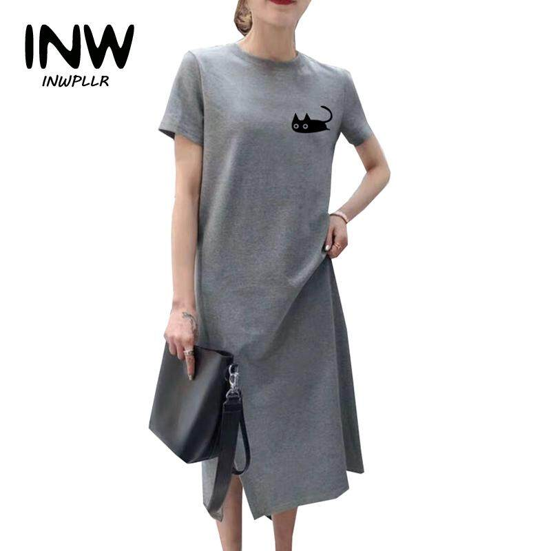 88a8bb00d729d INWPLLR Women's Fashion Dresses Casual Cat Print Dress Women Cotton Long  Dresses Female Summer Short Sleeve Dress Plus Size