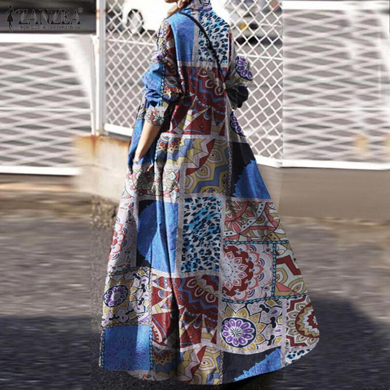 [จัดส่งฟรี] HijabFab ZANZEAผู้หญิงชุดมุสลิมแขนยาวคอCasualหลวมKaftan Caftanชุดเดรสแม็กซี่ขนาดพิเศษ