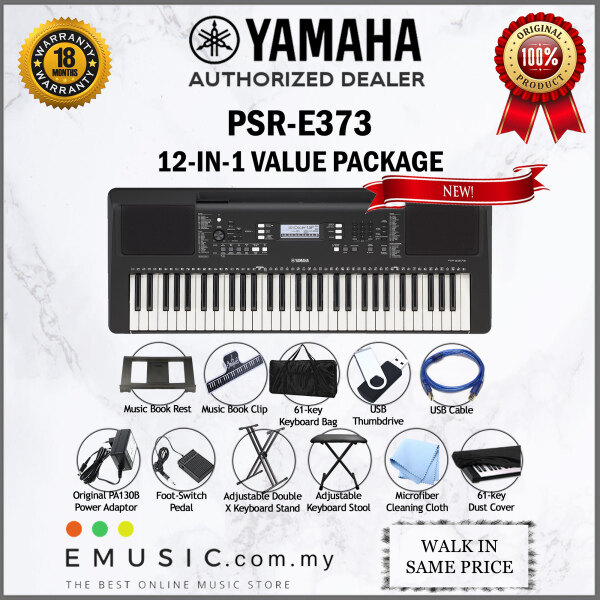 Yamaha PSR-E373 61-key Portable Keyboard Value Package (PSR E373 / PSRE373) Malaysia