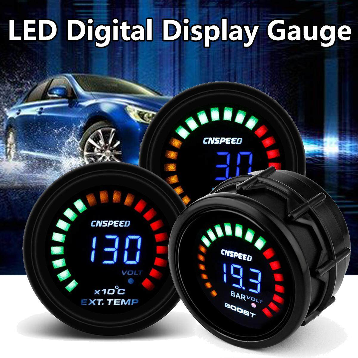 【free Shipping + Flash Deal】2 52mm Car Digital Psi Turbo Boost/water/oil Temp/pressure/tachometer/egt Gauge (water Temp) By Motorup.