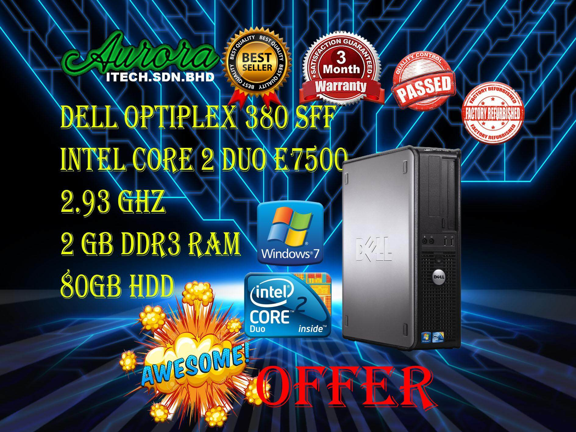 (REFURBISHED)Dell Optiplex 380 C2D DDR3 SFF Desktop / Intel Core 2 Duo  E7500 2 93 GHZ / 2GB DDR3 Ram / 80 GB HDD / 3 Month Warranty / Free KB And
