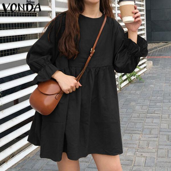 (Phong cách Hàn Quốc) vonda phụ nữ Hàn Quốc Cotton Linen Dài tay áo đồng bằng kỳ nghỉ Mini Dress DRESS Size S-5XL