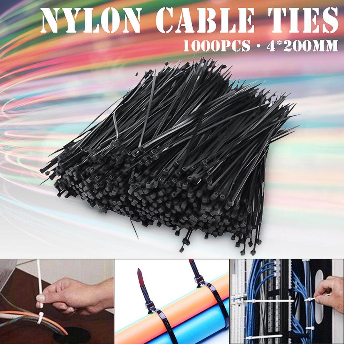 【Free Shipping】 1000pcs 8  Nylon Plastic Zip Trim Wrap Cable Loop Cord Wire Ties Strap Self Lock