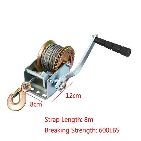 600lbs Manual Hand Winch + 10M Caravan Strap Length Marine Pull Boat Trailer -
