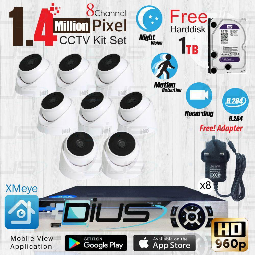 Cctv Kit Set.8 Piece 1.4 Mp Dome 1 Eye Cameras Hd 960p And 8 Ch Dvr ( Dtr-Afs1080b08bn ) Free Harddisk By Lazada Best Seller.