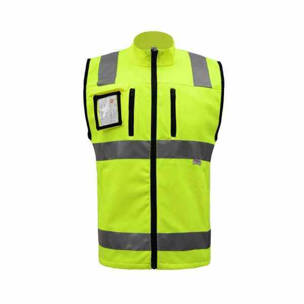 SFVest High Visibility Reflective Safety Vest Reflective Vest Multi Pockets Workwear Security Working Clothes Day Night Motorcycle Cycling Warning Safety Waistcoat (Yellow)