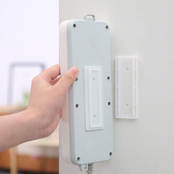 Wall Storage Hook Power Plug Socket Holder,Multipurpose Self Adhesive Power Strip Fixator,Power Cord Holder Plug Socket Hook Hanger Wall Sticker Home Decal