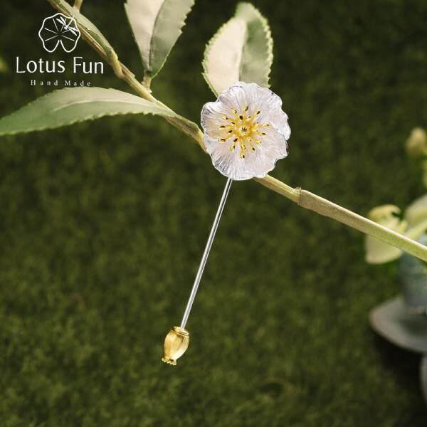 Lotus Fun Bất Động 925 Sterling Silver Handmade Designer Fine Jewelry Blooming Flower Trâm Cài Đối Với Phụ Nữ