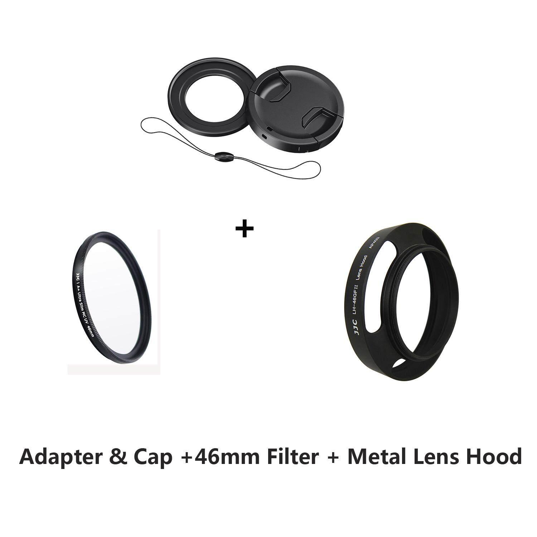 JJC Adaptor Penyaring & Tutup Lensa & 46 Mm Filter Uv & Tudung Lensa Logam Hood
