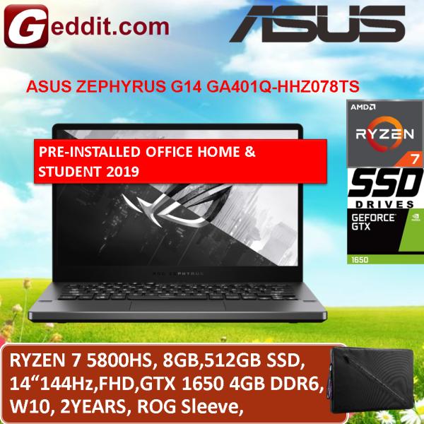 ASUS ZEPHYRUS G14 GA401Q-HHZ078TS GAMING LAPTOP (RYZEN 7 5800HS,8GB,512GB SSD,14 FHD 144Hz,GTX1650 4GB,WIN10) FREE SLEEVE + PRE-INSTALLED OFFICE H&S 2019 Malaysia