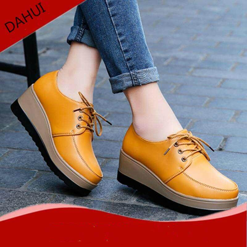 9bef72d98254 Summer Woman s Closed-Toe Wedges Genuine Leather heighten Casual  Comfortable Shoes (Yellow)