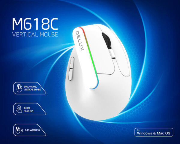 Delux M618C Vertical wireless Mouse Ergonomic 6 Buttons 1600DPI Optical 3D Mice With LED light For PC Laptop Computer