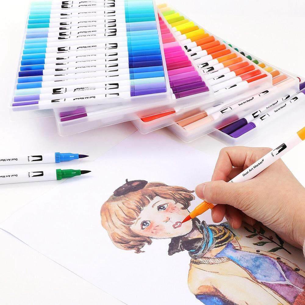 NiceToEmpty Watercolour Pen Brush Set - 24 Colours Dual Tip Brush Pens &  Soft Flexible Art Marker Pens Create Watercolor Effect - For