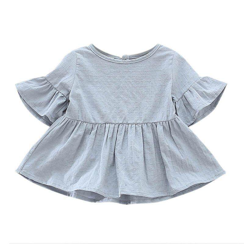 e6042f74cba Summer Baby Girls Shirt Infant Cotton Short-Sleeved Lotus Leaf Blouses