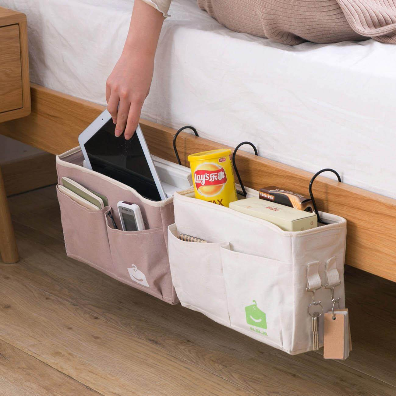 Hanging Storage Bags Fabric Student Bedside Organizer Pockets Bed Bedroom