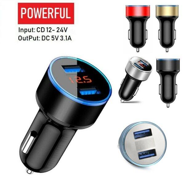 Bộ Sạc Xe Hơi Hai Cổng USB 3.1A 12-24V Với Vôn Kế LED Màu Đỏ, Nhanh Chóng Sạc Adapter Phụ Kiện Xe Hơi