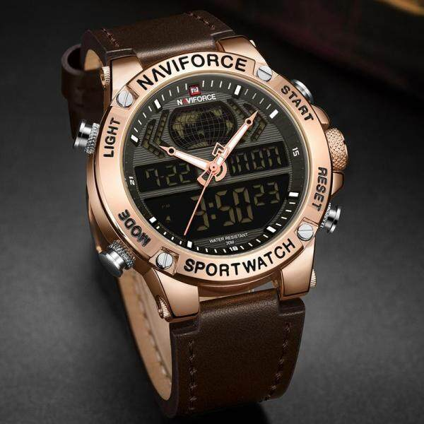 NAVIFORCE Brand Mens Watches Top Luxury Fashion Leather Wristband Watch LED Digital Casual Men Sport Dual Time Zone Quartz Clock Military Men Watch Malaysia