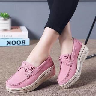 Dosreal Thời Trang Nữ Da Flat Size Lớn 35-42 Giày Giày Đế Xuồng Nữ Thoáng Khí Trượt Trên Nêm giày Thoáng Khí Đế Bằng thumbnail