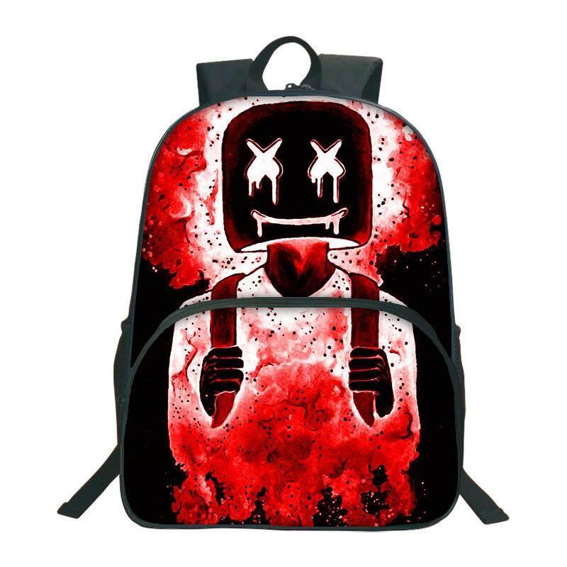 DJ Marshmallow Marshmello Backpack Round Bag Schoolbag Student Opening Gift