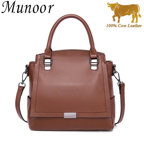 Munoor Italian Top Grain 100% Genuine Cow Leather Women Top-handle Bags Fashionable Lady Shoulder Bags