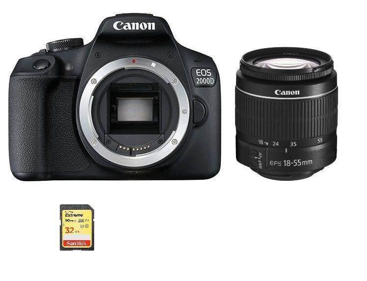 CANON EOS 2000D Black KIT EF-S 18-55mm F3.5-5.6 III + 32GB
