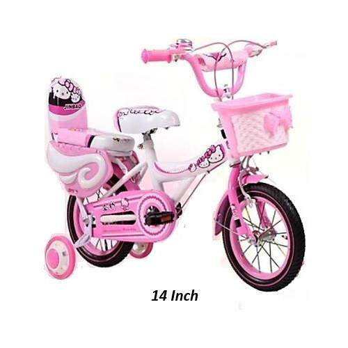 Girls Bike With Double Seat And Training Wheels 14 And 16 Inch-Pink Cutie Cat By Zeppy Malaysia.