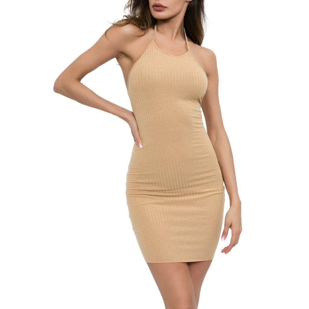 56ce154e65c1 Summer Fashion Women Solid O-Neck Sheath Halter Backless Sleeveless Bodycon  Camis Mini Dress