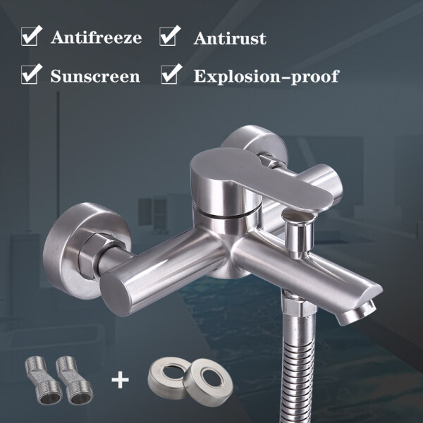 Direct Deal Bathroom 304 Stainless Steel Upgrade Knob Switch  Bath Crock Bibcock Of Hot And Cold Water Shower Shower Bathroom Mix Water Valve