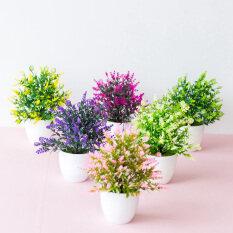 Hoa Giả Bằng Nhựa Đồ Trang Trí Hoa Oải Hương 22*17Cm Cây Trang Trí Mini Có Chậu