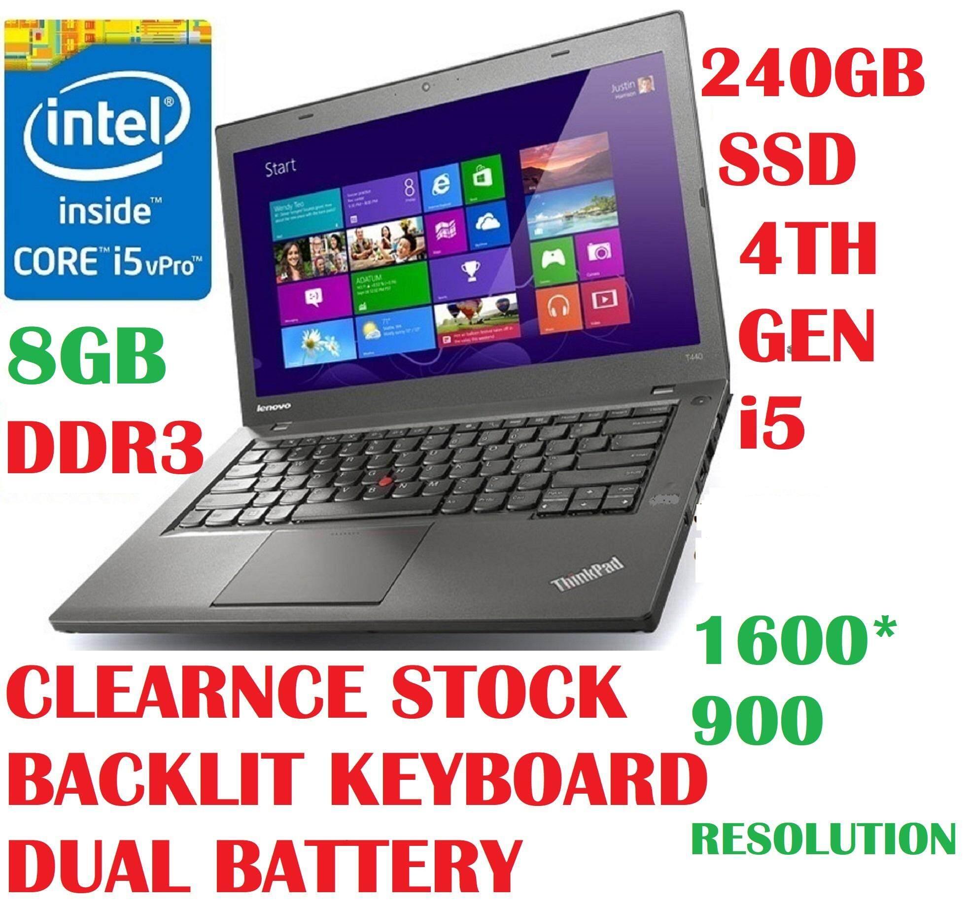 (REFURBISHED)LENOVO T440 (SLIM) INTEL CORE i5-4300U PROCESSOR 1 9TO 2 5 GHZ  V PRO CPU/8GB DDR3 RAM/240GB SSD/14 0