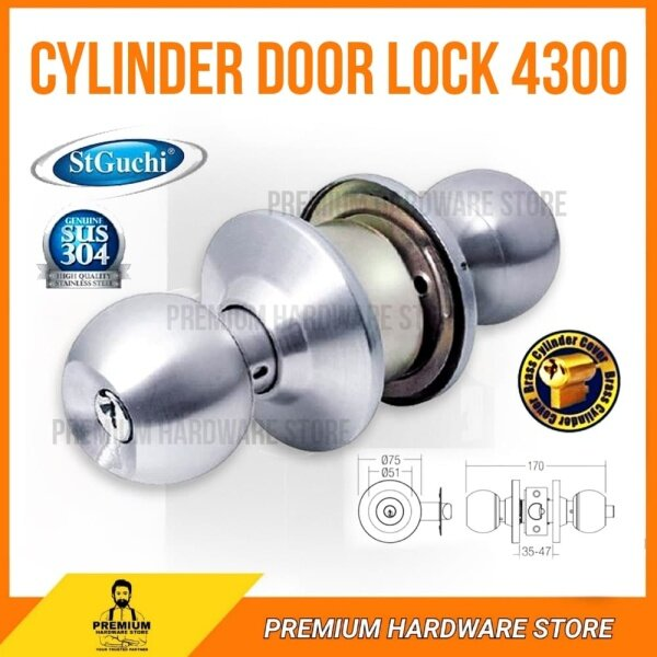 St Guchi SGCD-4300 Cylindrical Lock / Cylinder Door Lock / Tombol Pintu Stainless Steel Color (SS)