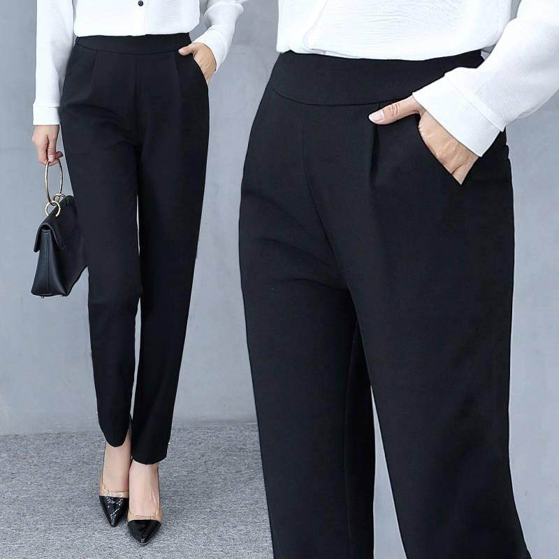733e04205c4acb Women's Casual Fashion Solid Loose Pants Mid Waist Long Trousers Office  Pants