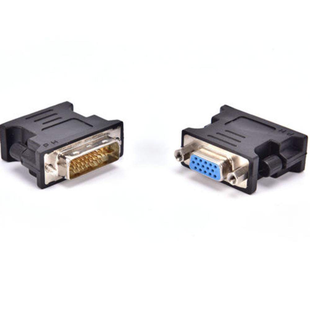 Bộ Chuyển Đổi DVI Sang VGA Màu Đen Chuyên Nghiệp, DVI-A / DVI-I Bộ Chuyển Đổi Màn Hình Analog SVGA HD15 TS