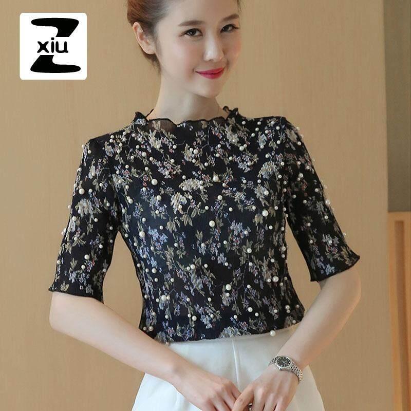 a2c48deb5ab2b ZXIU Korean-style Tops New Fashion Beading Chiffon Blouse Women Shirts  Floral Print Blouses Spring Summer Short Sleeve Tops Women