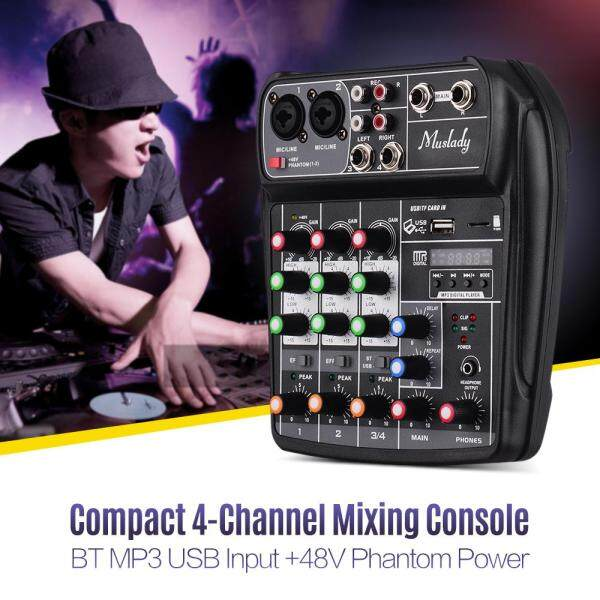 Muslady AI-4 Compact Sound Card Mixing Console Digital Audio Mixer 4-Channel BT MP3 USB Input +48V Phantom Power for Music Recording DJ Network Live Broadcast Karaoke