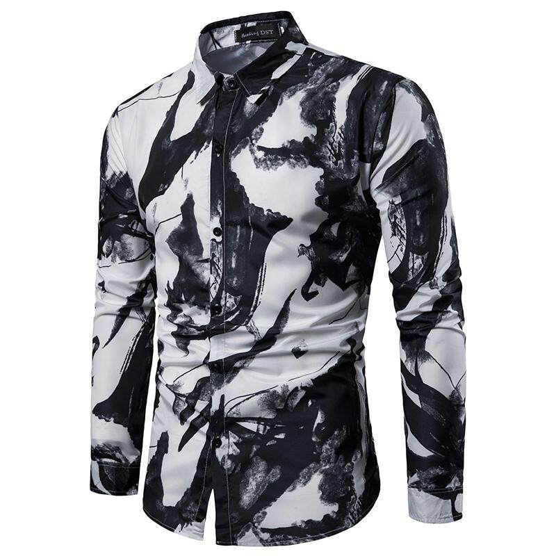 6c850d0c572 Casual Mens Shirts Long sleeve Shirt Men Slim fit Fashion ink printing  Blouse Mens clothing Turn