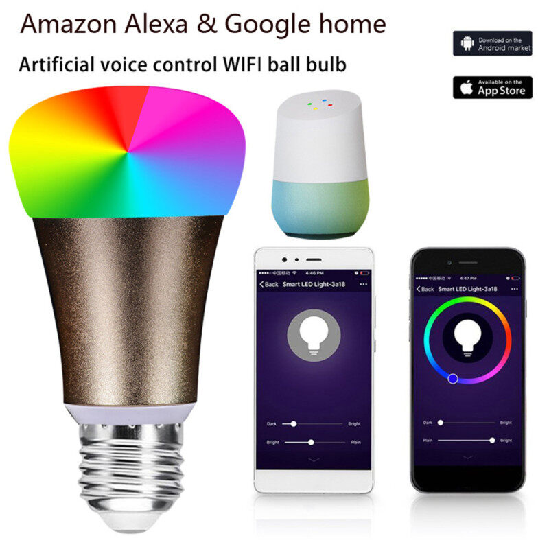 Bóng Đèn Thông Minh Nhiều Màu Điều Khiển Từ Xa LED Wake Up WiFi Đèn 7W