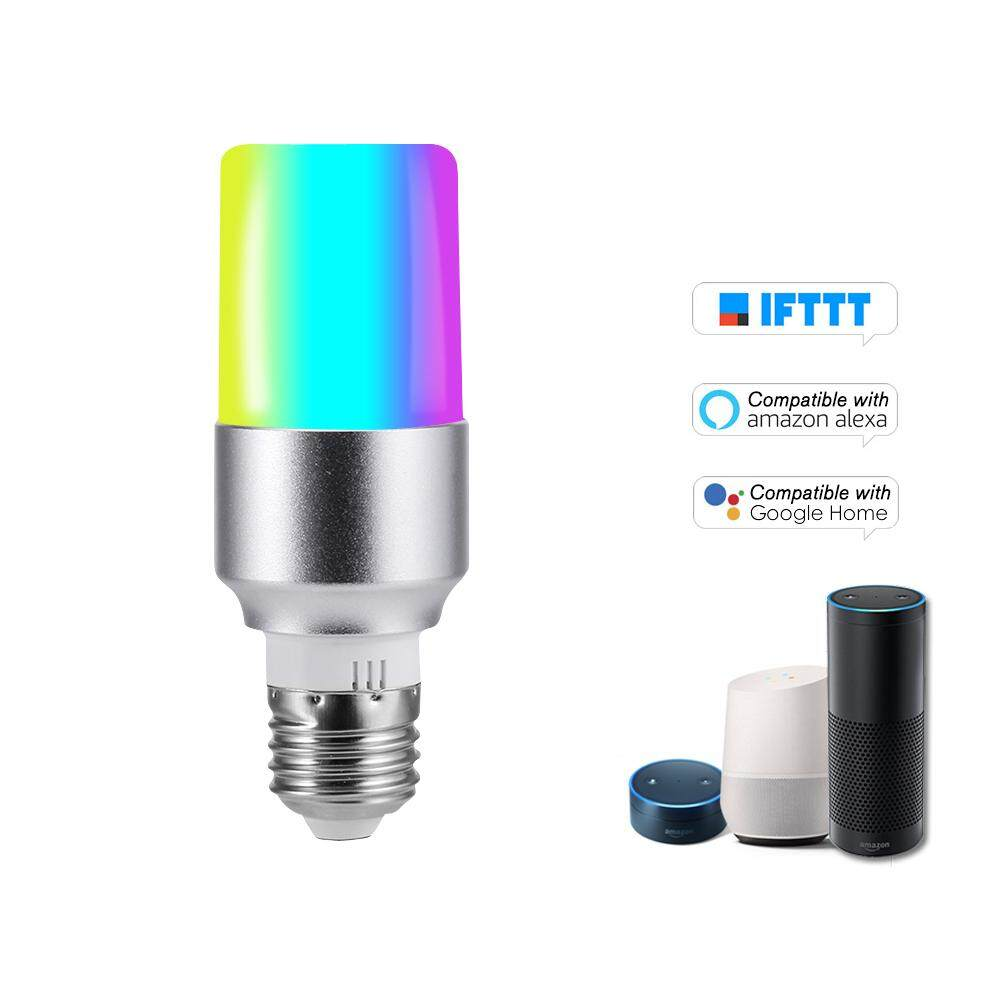 V15 Smart WIFI LE-D Bulb RGB+W LE-D Bulb 6W E27 Dimmable Light Phone Remote Control Group Control Compatible with Alexa Goo-gle Home Tmall Genie Voice Control Light Bulb