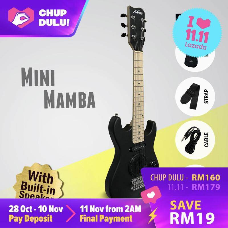 [11.11 CHUP DULU] [Ready Stock] Neon Mini Mamba 28 Inch Travel Electric Guitar w/ Built-in Speaker + Bag + Strap + Cable + 2 Picks Malaysia