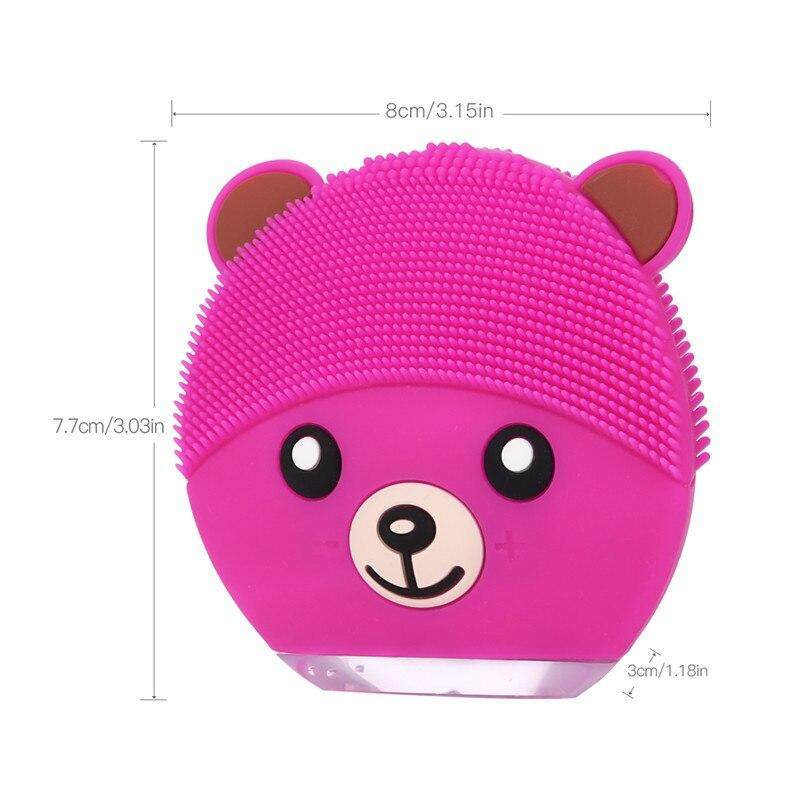 Cartoon Bear Electronic Silicone Facial Cleaning Brush Ultrasonic Beauty Instrument Rechargeable Facial Care Tool 4 Colors 46